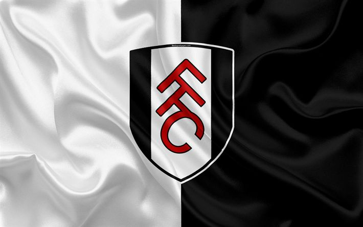 Download wallpapers Fulham FC, silk flag, emblem, logo, 4k, Fulham, England, UK, English football club, Football League Championship, Second League, football