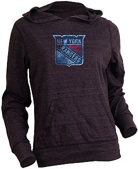 Old Time Hockey New York Rangers Women's Blasted Triblend Hooded Long Sleeve T-Shirt - Shop.NHL.com