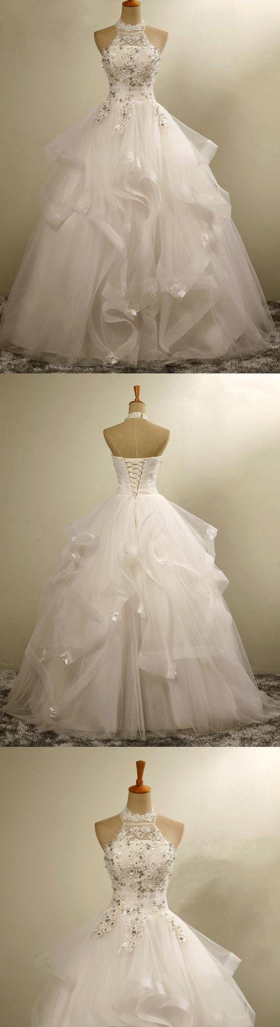 High Neck Elegant Gorgeous Charming Lace Appliques Organza Wedding Dresses, WD164