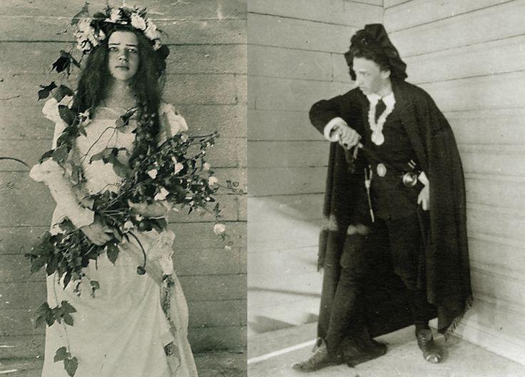 Александр Блок (Гамлет) и Любовь Менделеева (Офелия) в домашнем спектакле «Гамлет» в имении Менделеевых Боблово, 1898 год