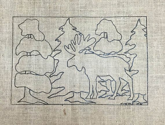 Free Shipping- Moose In the Wild-- Rug hooking pattern by Deanne Fitzpatrick