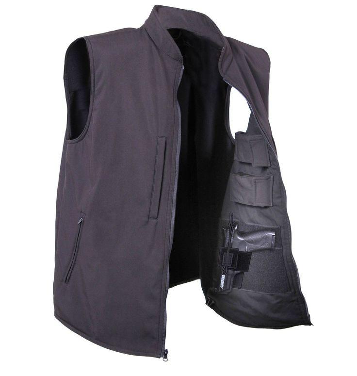 Men's Black Concealed Carry Waterproof Soft Shell Vest