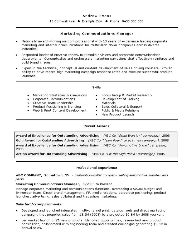 Marketing manager job resume how to create a marketing