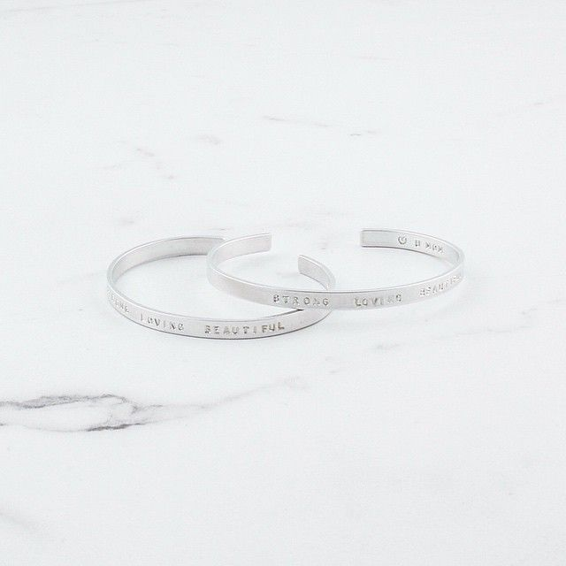 Here just in time for Mother's Day   Our Hand Stamped Silver Bangle with the words Strong Loving Beautiful   Trust us, she'll love it