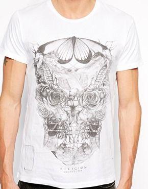 Agrandir Religion - T-shirt avec imprimé tête de mort formée d'insectes