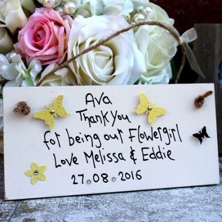Ava Thank You for being our Flowergirl - Love Melissa & Eddie - Date - with yellow and purple Butterlflies - wedding gift ideas for flower girls bridesmaids and maid of honour. Lovely wedding thank you gifts for the bridal party from MadeAt94