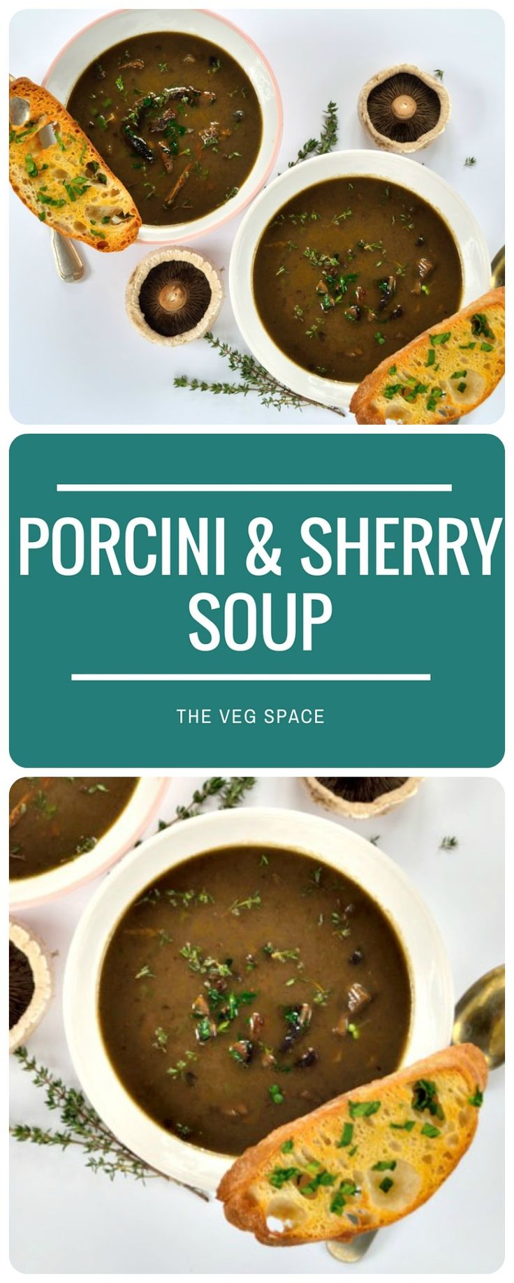 This autumnal and earthy Porcini Mushroom & Sherry Soup is deep and rich, and can be a showstopper dinner party starter, or simple weeknight supper.