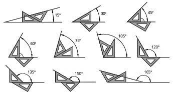 Resultado de imagen de hacer angulos con escuadra y cartabon explicacion angulo 15º