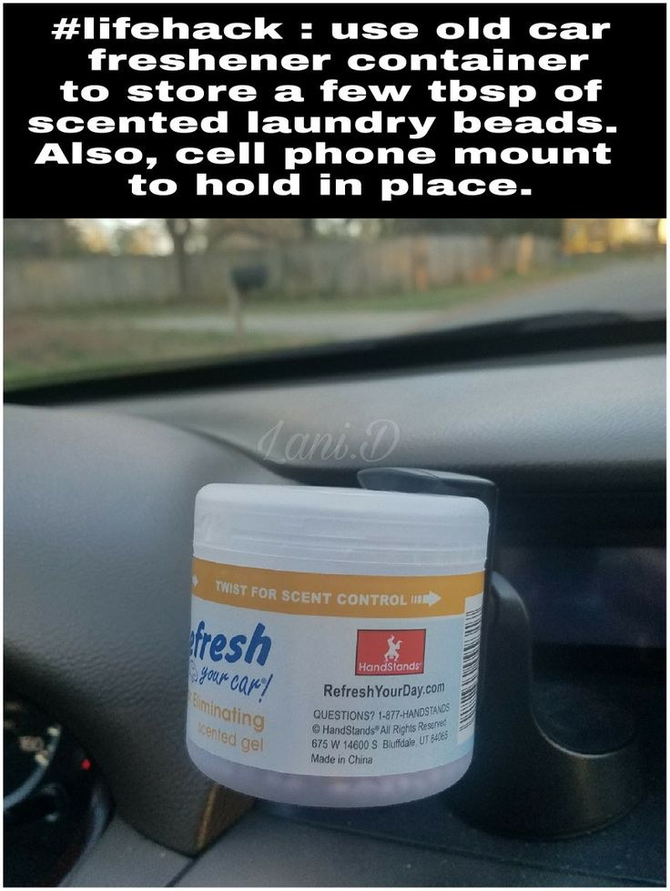 Refillable car air freshener. Use unstopables or similar laundry scent beads in and emptied car freshener container. Best if you can find the one with adjustable slots to control scent distribution. Also, aside from fitting inside the standard cup holder, these little guys seem to fit in a cell phone mount in your car.