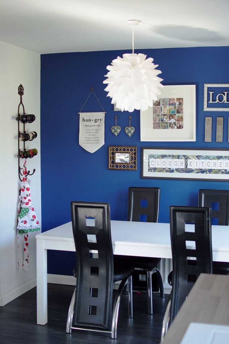 Kitchen Tour - blue feature wall over the dining area