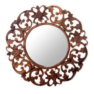Handcrafted Suar Wood Balsamina Buds Wall Mirror Indonesia By Novica