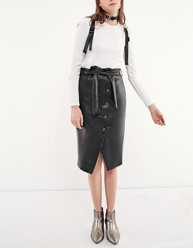 PU midi skirt with button detail - Skirts | Stradivarius Ukraine
