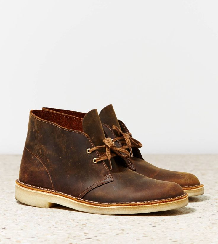 Clarks desert boot in a medium brown with creme color crepe sole