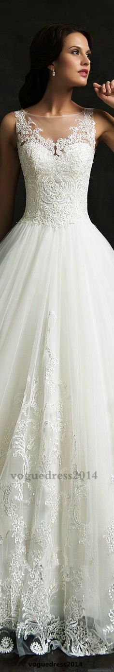 Love her lace appliqués! Amelia Sposa 2015 #weddingdress #coupon code nicesup123 gets 25% off at Provestra.com Skinception.com