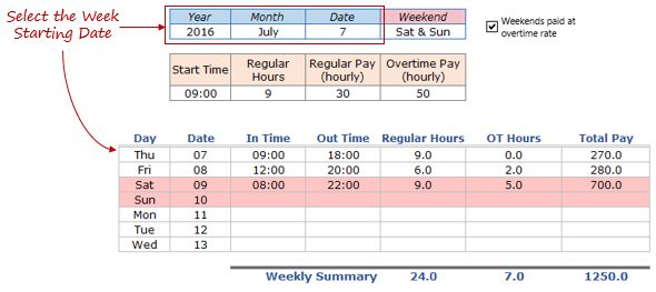 Employee Timesheet Calculator Template in Excel