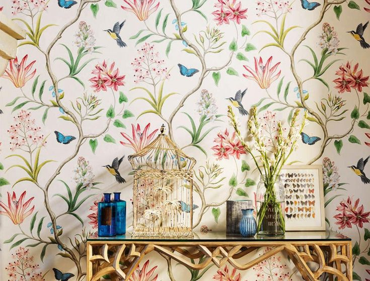 $89.83 Price per roll (per m2 $13.15), Romantic wallpaper, Carrier material: Non-woven wallpaper, Surface: Smooth, Look: Matt, Design: Flower tendrils, Butterflies, Birds, Basic colour: Cream, Pattern colour: Anthracite grey, Golden yellow, Grey white, Green beige, Light pink, Pastel blue, Crimson red, Characteristics: Good lightfastness, Low flammability, Strippable, Paste the wall, Wash-resistant