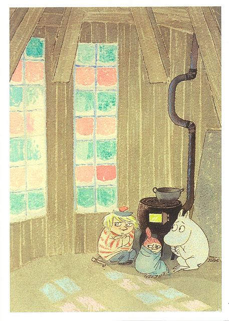 tove jansson - Tooticky, Little My and Moomintroll take shelter from the Lady of the Cold in the old Bathinghouse