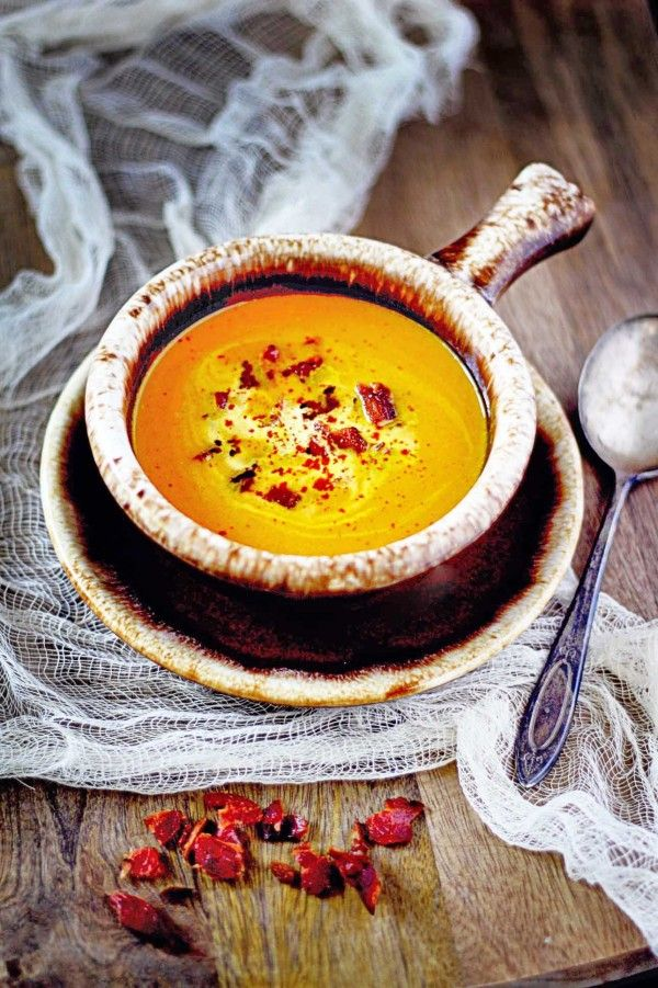 Carrot Soup with Smouked Paprika and Bacon Crumbles