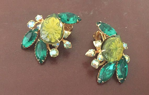 Beau Jewels Green Glass Earrings Rhinestones Navette Shape