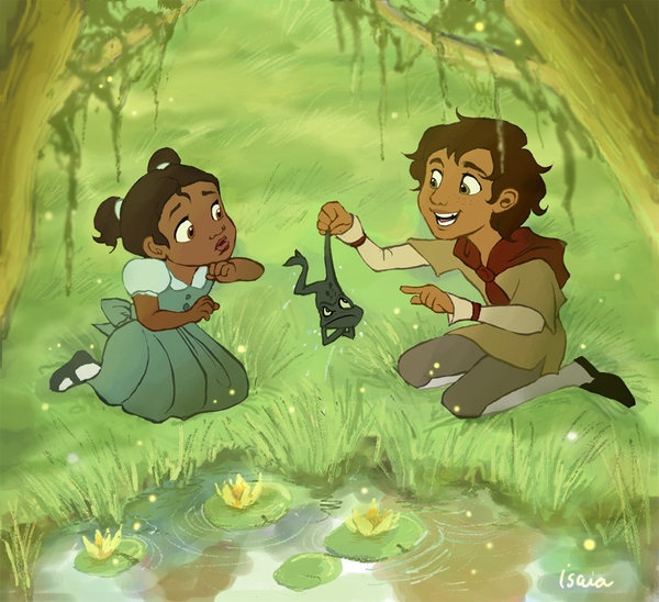 Child Tiana and Naveen | I Reckon you Want a Kiss? | Pinterest