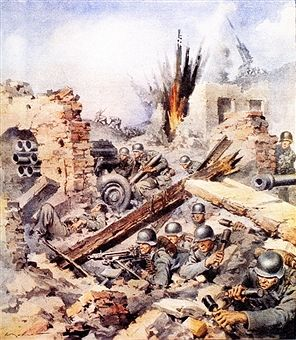 Second World War-Italian Campaign Montecassino-1944 The Battle for Cassino on an illustration of the newspaper La Domenica del Corriere April 2, 1944. German infantry entrenched in the rubble armed with machine guns, hand grenades and a rocket launcher type Nelbelwefer fighting against the Allies. Pin by Paolo Marzioli