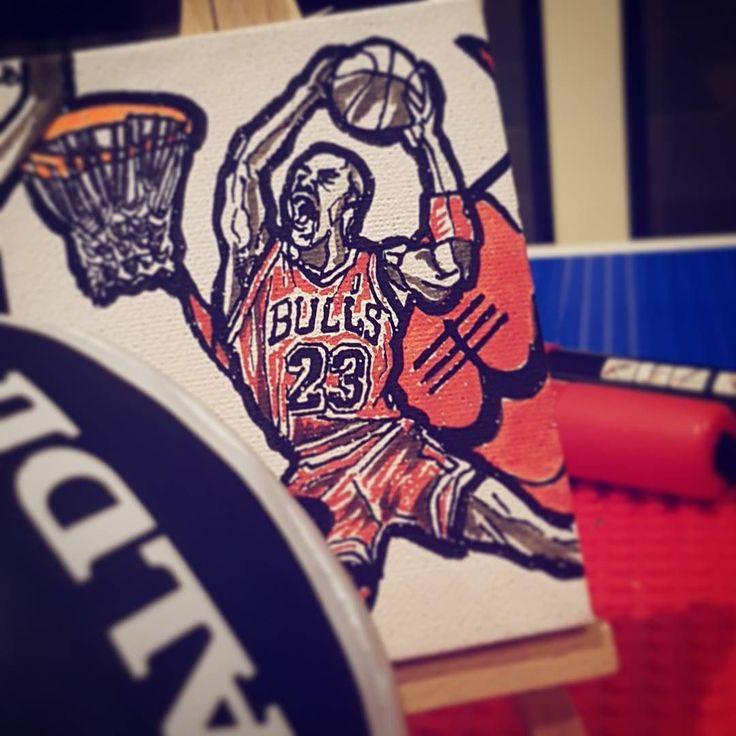 #michaeljordan #mj #mini #artwork #canvas #jordan #bulls #easel #dunk #nba #dunkcontest #red #flashback #tbt #air #twentythree #fbf #basketball #lineart #ink #art #artistsoninstagram #greatness #artist #goat #hisairness #flight