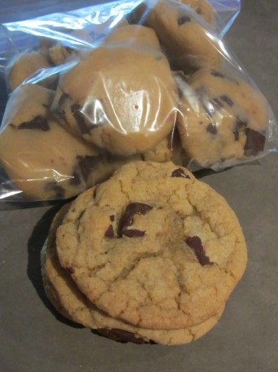 thick and chewy chocolate chip cookies with directions for freezing.