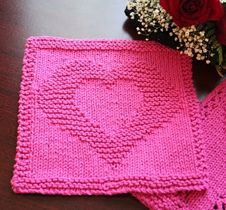 Two hearts dish cloth