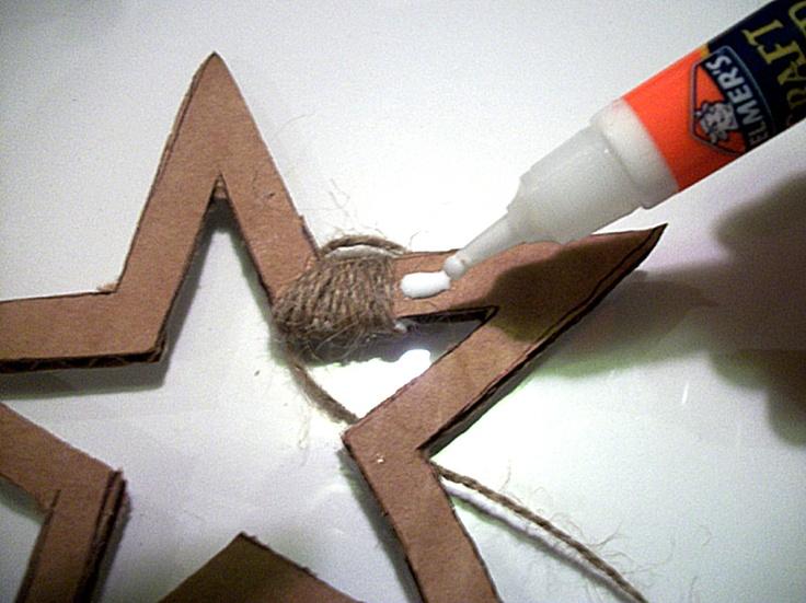 easy to make twine-covered cardboard stars