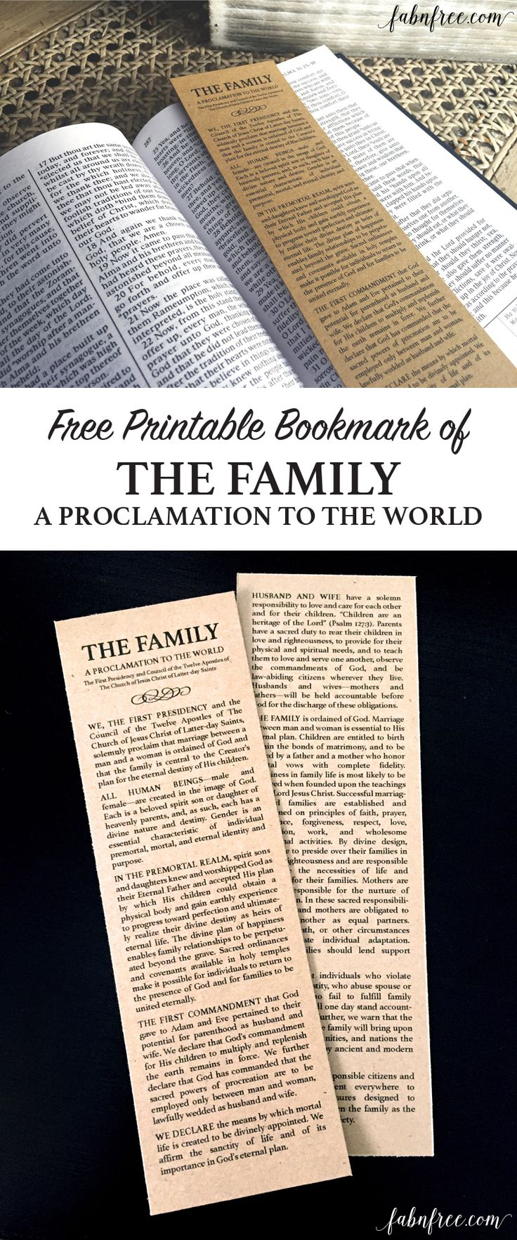 Free Printable Bookmark - The Family: A Proclamation to the World  //  fabnfree.com