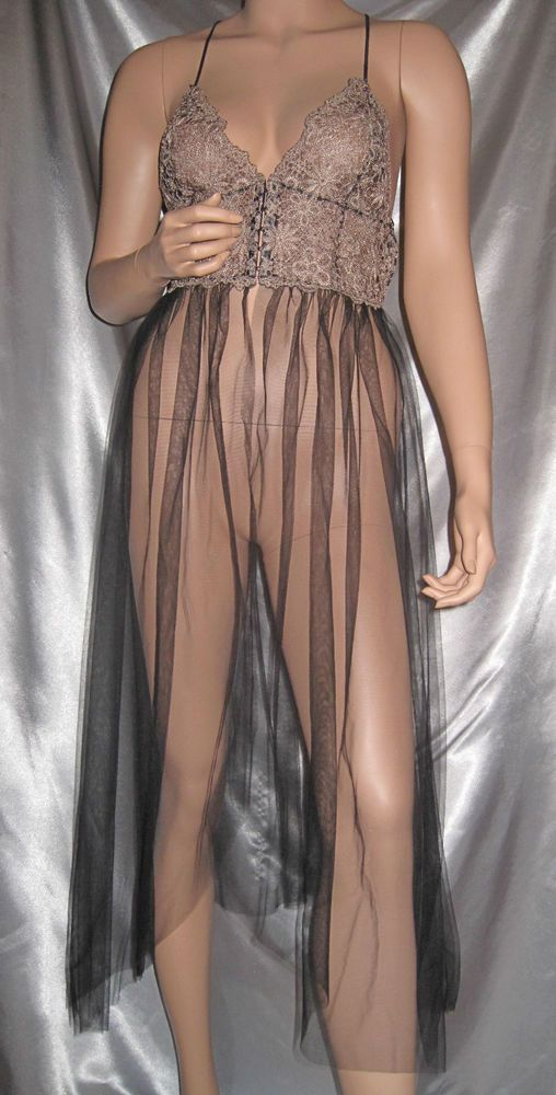 Victoria S Secret Sheer Long Corset Top Nightgown Lace