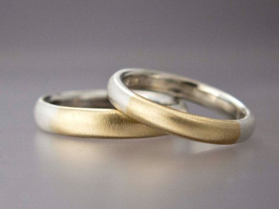 A quarter of each of these simple bands is made from solid 14k yellow gold, the rest sterling silver, married together. When a jeweler talks