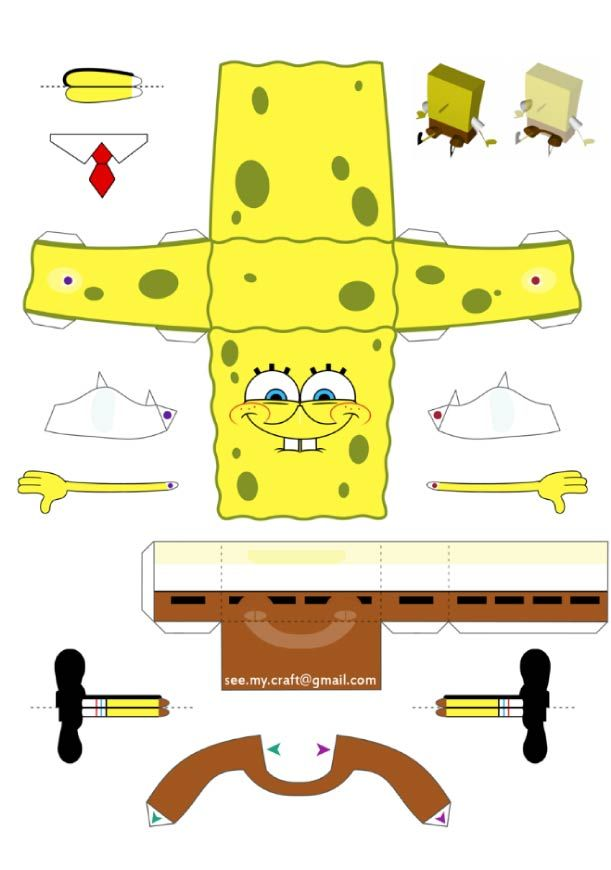 Blog Paper Toy papertoy Spongebob template preview Papertoy de Bob léponge