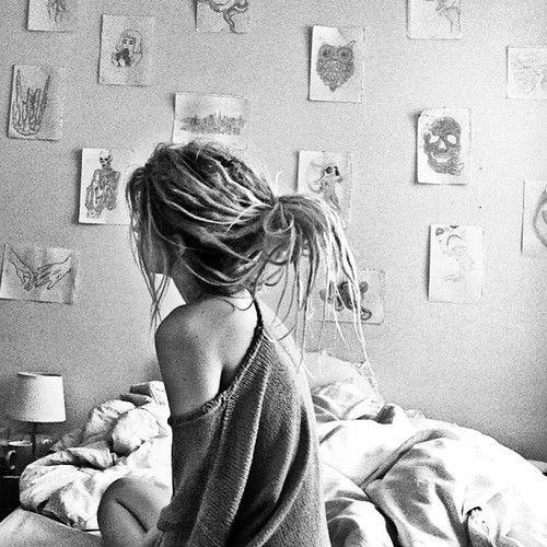 bed, bedroom, boho, draw, dreads, hipster, indie, locks, photography, thin, woman