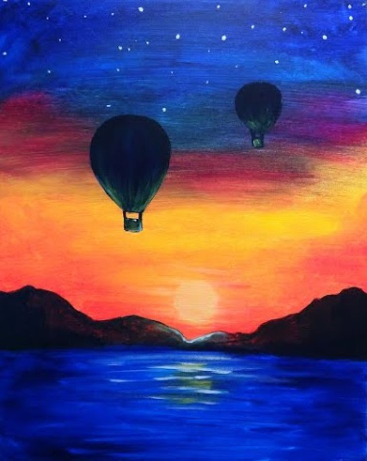 Hot air balloons at night over water Pinot's Palette - Naperville Painting Library