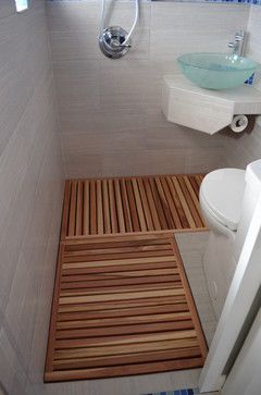 "Joe Statwick's Thai style micro-bathroom ""wet room"" addition - wood floor, smartly located TP roll!"