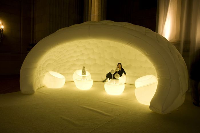 1/7/2013: At Google's 2009 inaugural event, giant plastic igloos from Inflate created unconventional seating areas. The 2,000-person bash at the Andrew W. Mellon Auditorium was designed internally by Google. FormDecor Furniture Rental provided furniture rentals.  Photo: Courtesy of Google