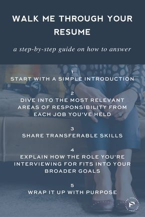 "Save for your next interview: A step by step guide on how to answer ""walk me…"
