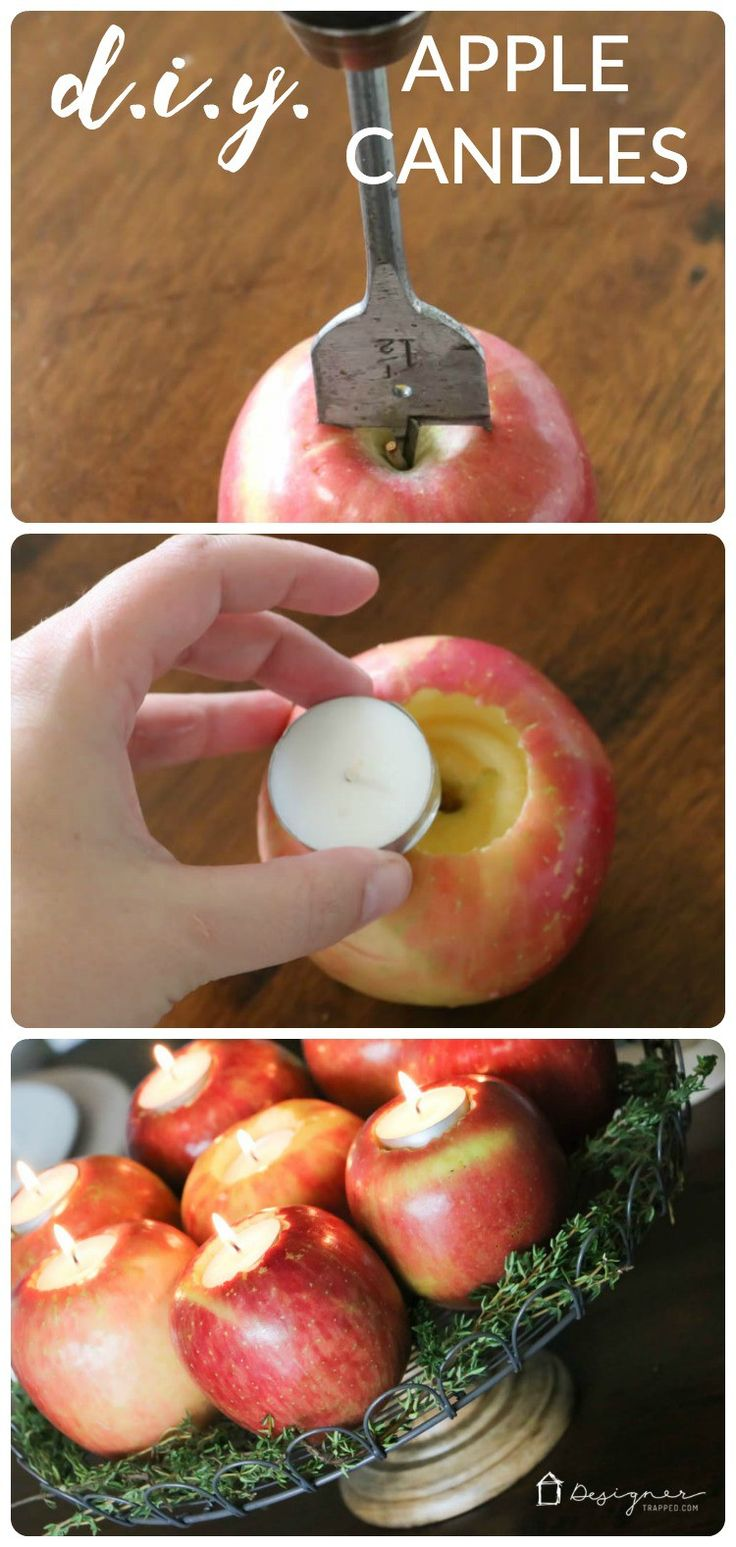 OMG--love this! Come learn how to make this centerpiece out of DIY apple candles. So pretty! Perfect for Thanksgiving or Christmas!