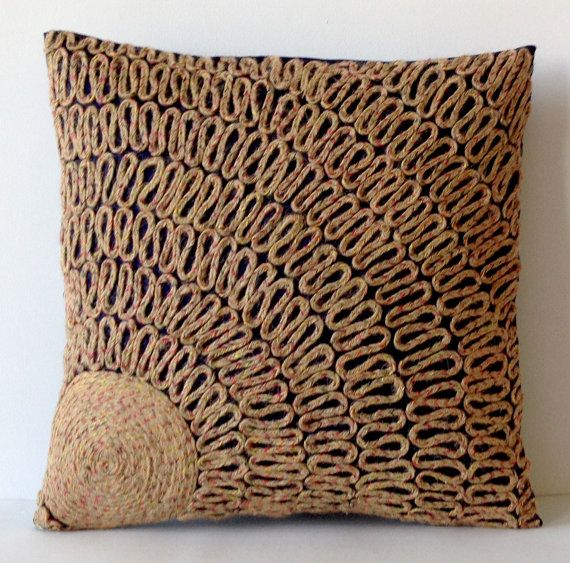 Throw Pillows Navy Blue Tan Dori Pillows Burlap by AmoreBeaute