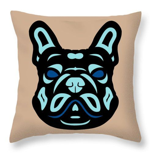 Throw Pillow French Bulldog Francis - Dog Design - Hazelnut, Island Paradise, Lapis Blue by Manuel Süess | More: http://artprintsofmanuel.com/products/french-bulldog-francis-dog-design-hazelnut-island-paradise-lapis-blue-manuel-sueess-throw-pillow.html