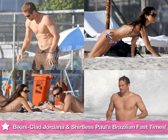 Jordana Brewster and Paul Walker. Brazilian Beach Fast Times filming Fast 5
