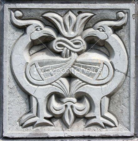 Old bas-relief of fairytale two firebirds — Stock Photo © Radnatt #5763642