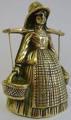 Brass Lady Bell Milk Maid Egg Baskets Buckets Yoke Stunning Vintage Rare (12/04/2011)