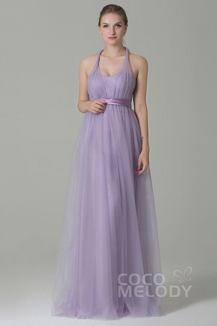 Charming Sheath-Column Natural Floor Length Tulle Light Purple Sleeveless Zipper Convertible Bridesmaid Dress with Ribbons COZF1500B #cocomelody #weddingdress