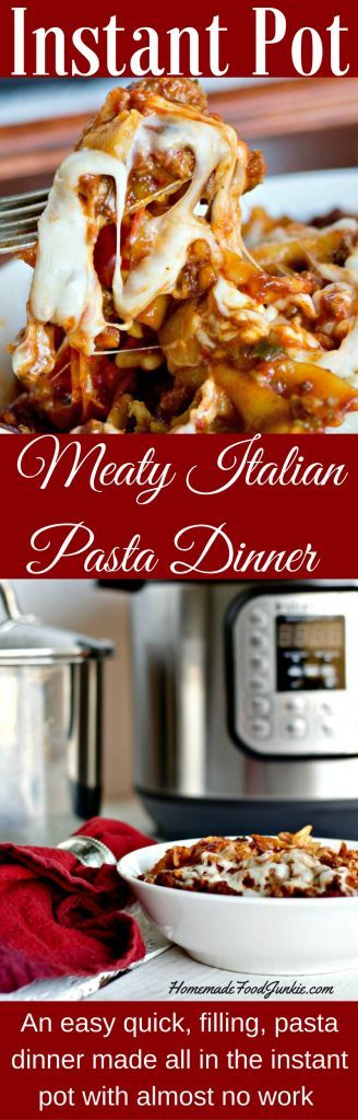 Instant Pot Meaty Italian Pasta Dinner is a filling dinner that uses roasted peppers and fresh or frozen whole Roma tomatoes for lots of flavor.