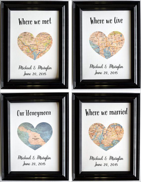 Benutzerdefinierte Hochzeitstag Geschenk für Paare personalisierte Karte Kunst Engagement Geschenke Karte Herz drucken, wo wir uns trafen vorgeschlagen