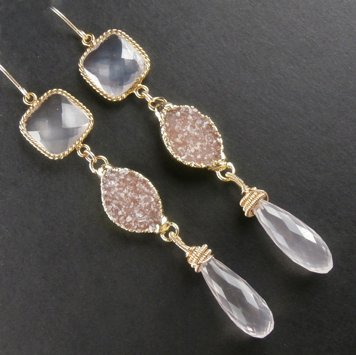 Druzy Earrings Long Dangle Pink Rose Quartz Statement Jasper Gemstone Luxury Spring Fashion Beach Wedding Rosa