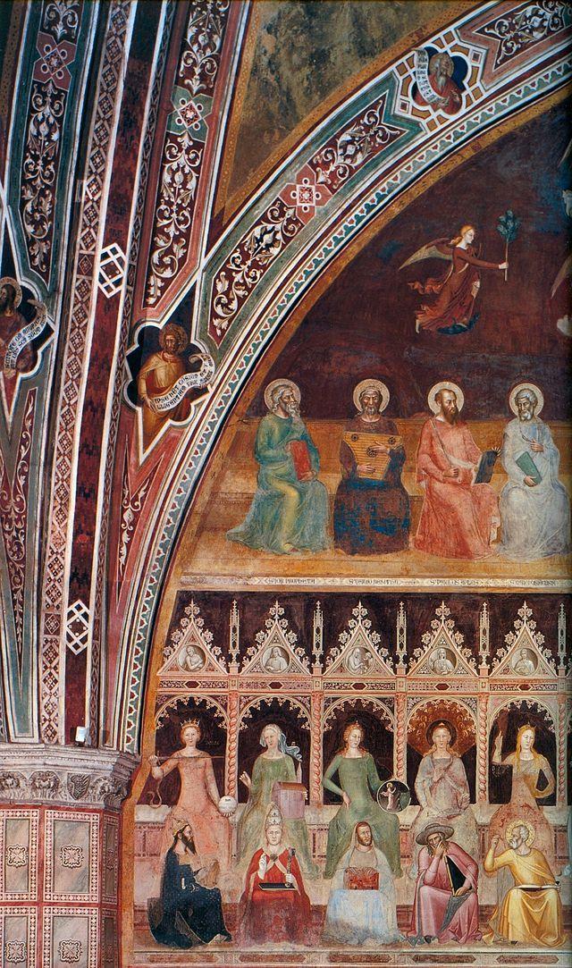 Andrea di Bonaiuto. Santa Maria Novella fresco 1366-7 0018 - Андреа Бонайути — Википедия. Апофеоз св. Фомы Аквинского, левая часть.