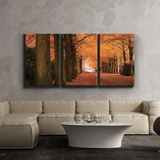 Here you will find some of the best home  wall art décor around. You will find #travel  #wall# art, #landscape wall art, #fantasy home wall art décor, animal wall art  home #décor, love wall art and so much more.  All beautiful, trendy and charming accents for your home.      3 Piece Canvas Print - Contemporary Art, Modern Wall Decor - Autumn orange leaved trees line path - Giclee Artwork - Gallery Wrapped Wood Stretcher Bars - Ready to Hang- Wall26 - 24